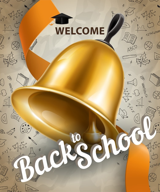 Welcome, back to school lettering and big bell Free Vector