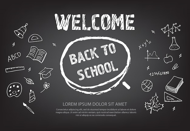 Welcome back to school lettering in chalk circle Free Vector