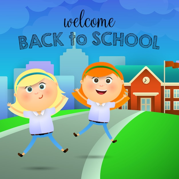Welcome back to school lettering, cheerful schoolgirls Free Vector