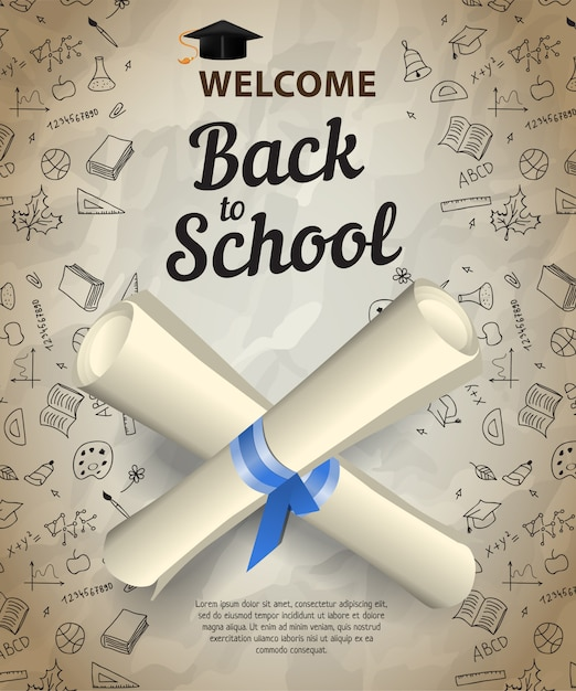 Welcome, back to school lettering and crossed diploma scrolls Free Vector