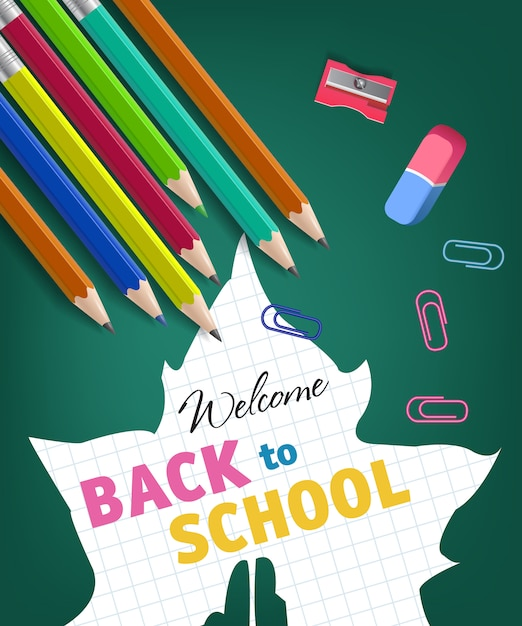 Welcome back to school lettering and maple leaf silhouette Free Vector
