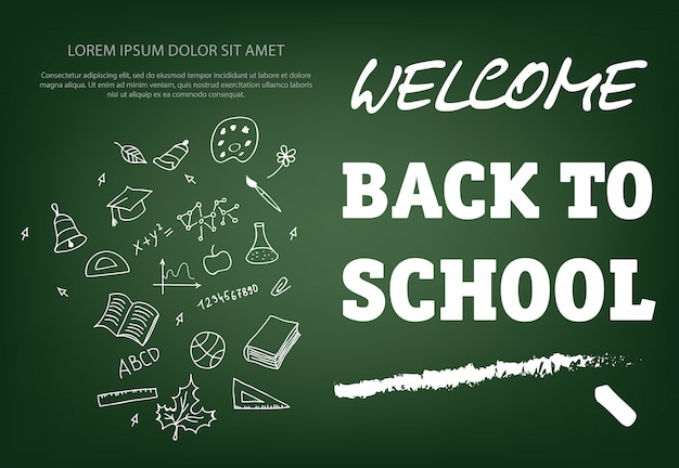 Welcome back to school lettering with chalk stroke Free Vector