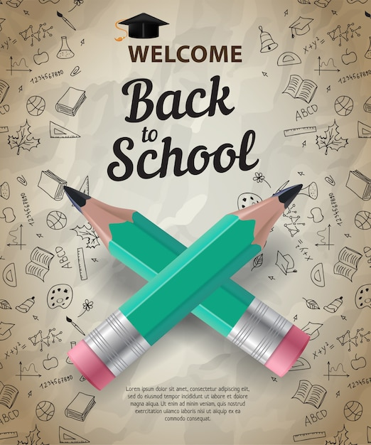 Welcome, back to school lettering with crossed pencils Free Vector