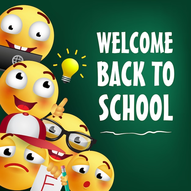 Welcome back to school lettering with happy emojies Free Vector