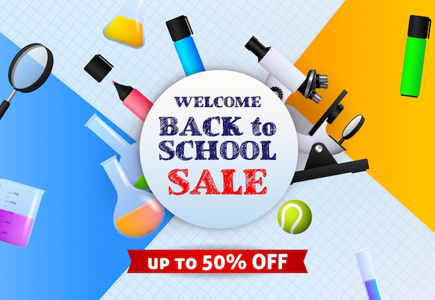 Welcome back to school sale banner de sign with marker pens, microscope Free Vector