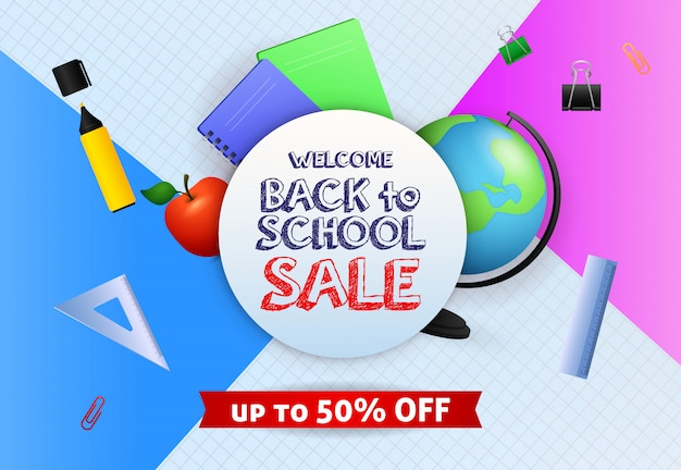 Welcome back to school sale banner design with globe, marker pen Free Vector