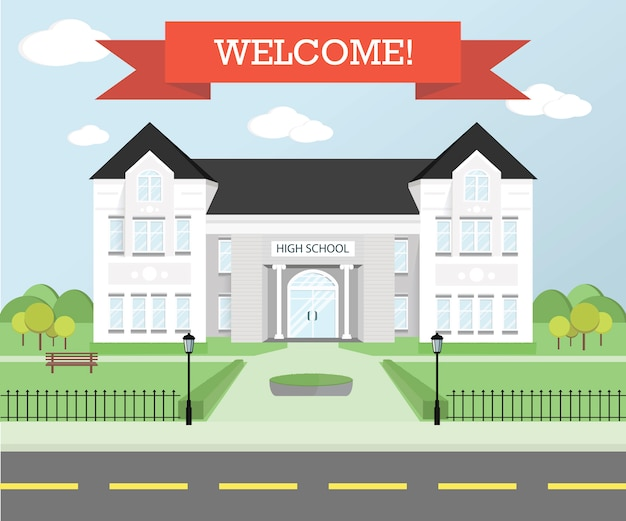 Welcome back to school theme. education . study place. Premium Vector
