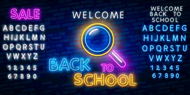 Welcome back to school. typography font alphabet neon style effect Premium Vector