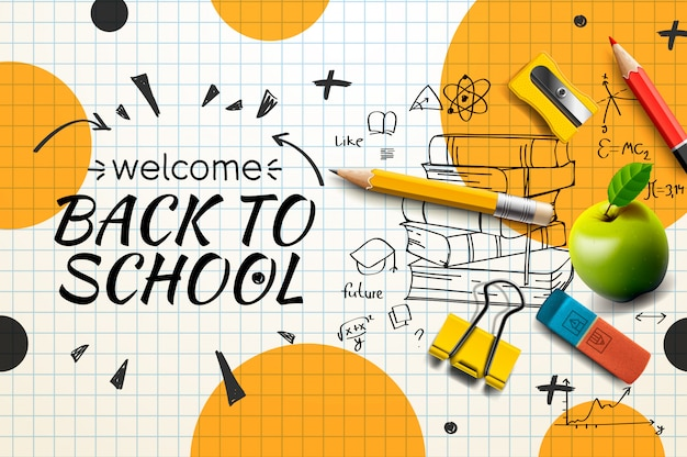 Welcome back to school web banner, doodle on checkered paper background,  illustration. Premium Vector