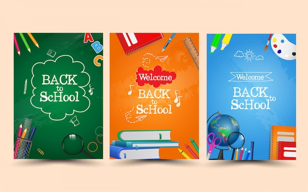 Welcome back to school with equipment. Premium Vector