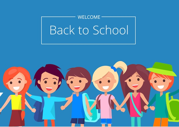 Welcome back to school with kids Premium Vector