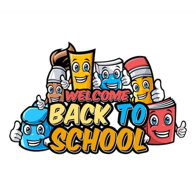 面白い教育漫画のマスコットで学校のキャラクターに戻ってようこそ Premiumベクター