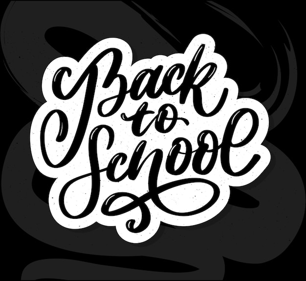 Добро пожаловать обратно в школу ручной кистью надписи, на фоне мятой бумаги блокнота, с черным толстым фоном. иллюстрация. Premium векторы