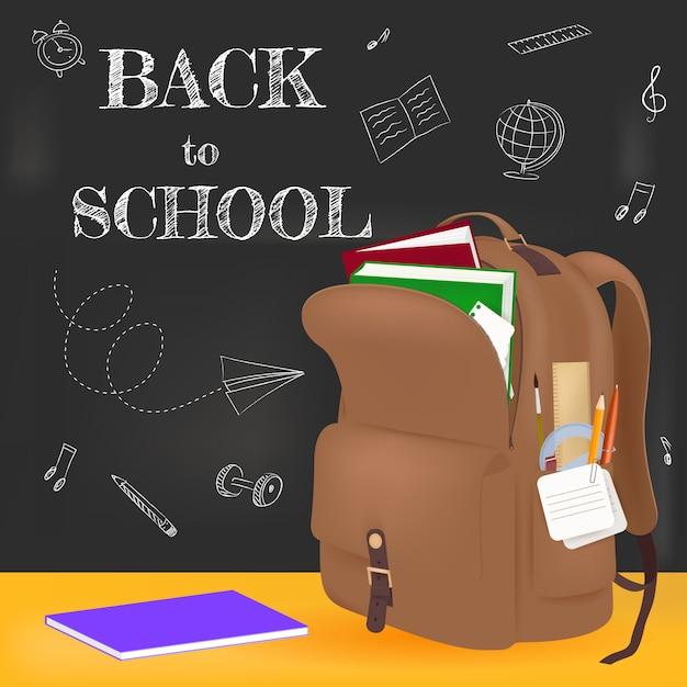 Добро пожаловать обратно в школу. реалистичный коричневый рюкзак и школьные принадлежности Premium векторы