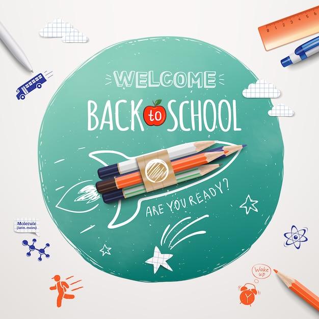 Добро пожаловать в школу. запуск ракетного корабля выполнен цветными карандашами. реалистичные школьные предметы и элементы. добро пожаловать обратно в школу баннер. Premium векторы