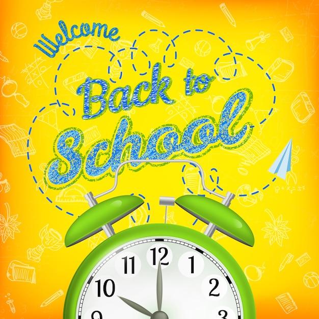 目覚まし時計で学校販売の背景に戻って歓迎します。 Premiumベクター