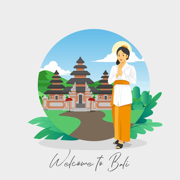 Welcome to bali greetings card Premium Vector