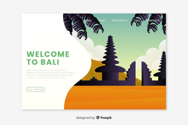 Welcome to bali landing page Free Vector