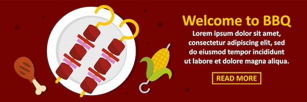 Welcome to bbq banner template horizontal concept Premium Vector