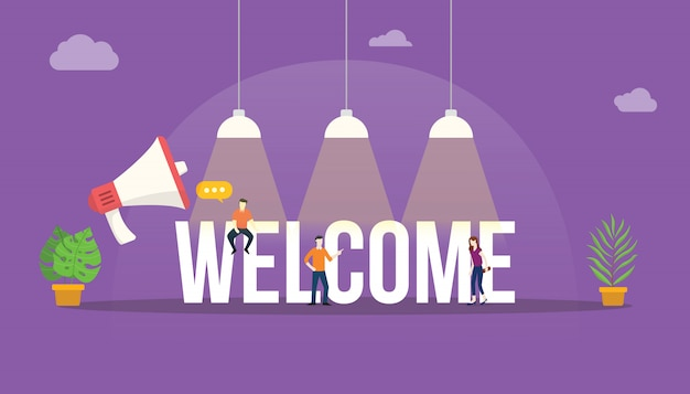 Welcome big word text Premium Vector