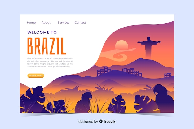 Welcome to brazil landing page template with landscape Free Vector