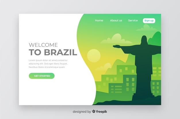 Welcome to brazil landing page Free Vector