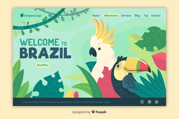 Benvenuto nella landing page del brasile Vettore gratuito