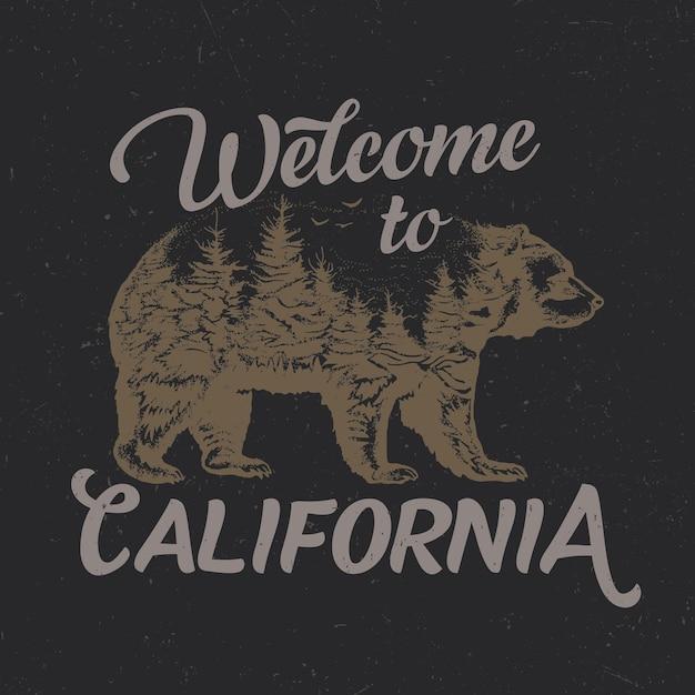 Benvenuti nel design della maglietta della california con l'illustrazione della sagoma dell'orso Vettore gratuito