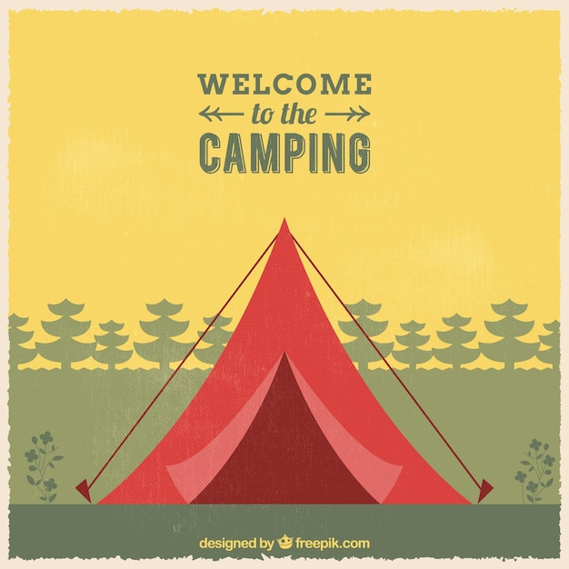 Welcome to the camping background Free Vector