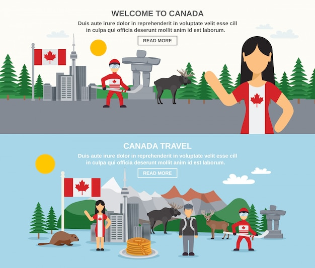 Welcome to canada banners Free Vector