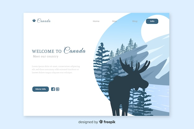 Welcome to canada landing page template Free Vector