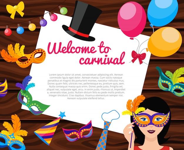 Benvenuti a carnival composizione Vettore gratuito