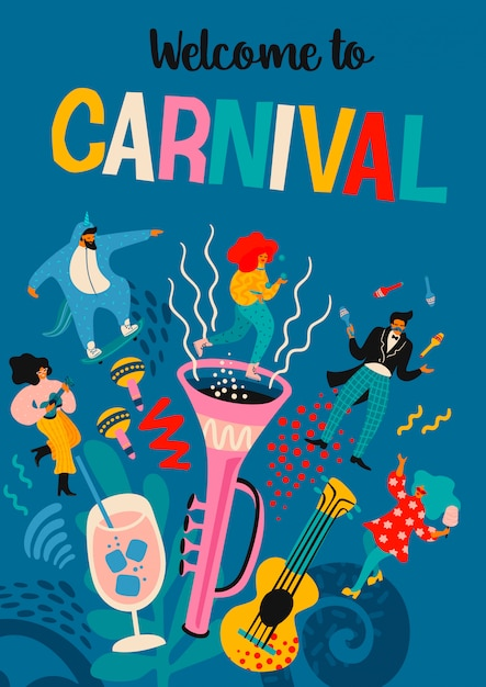 Welcome to carnival. vector illustration with funny men and women in bright modern costumes. Premium Vector