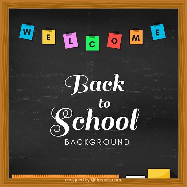 welcome cback to school written on the blackboard vector free download