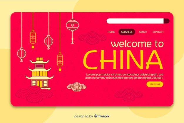 Welcome to china landing page template Free Vector