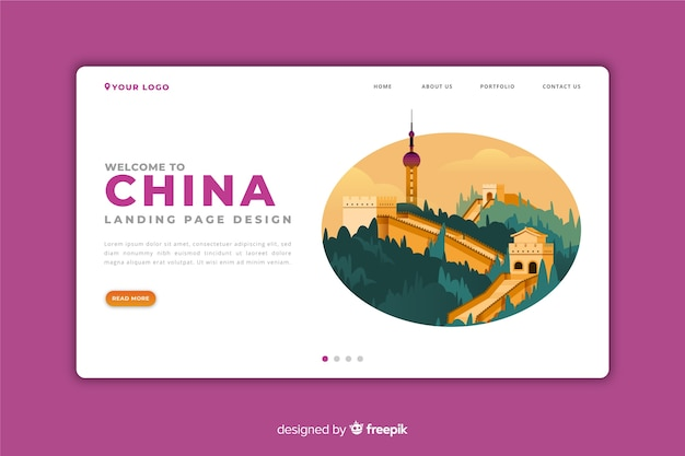 Welcome to china landing page Free Vector
