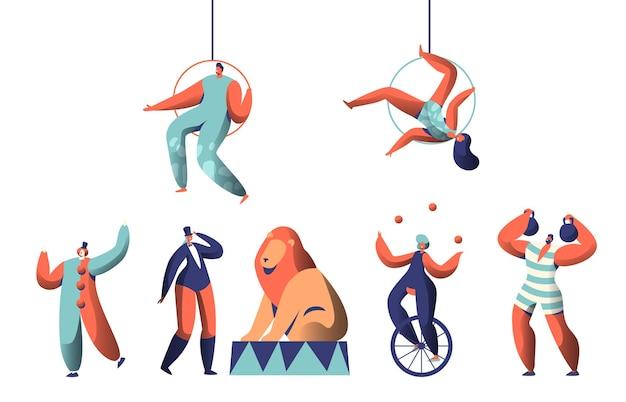 광대 곡예사 및 동물 세트와 함께 서커스 쇼를 환영합니다. 외발 자전거에 여자 요술쟁이 균형. Strongman 리프트 웨이트. 트레이너와 함께 아레나에서 훈련 된 라이온. 플랫 만화 벡터 일러스트 레이션 프리미엄 벡터