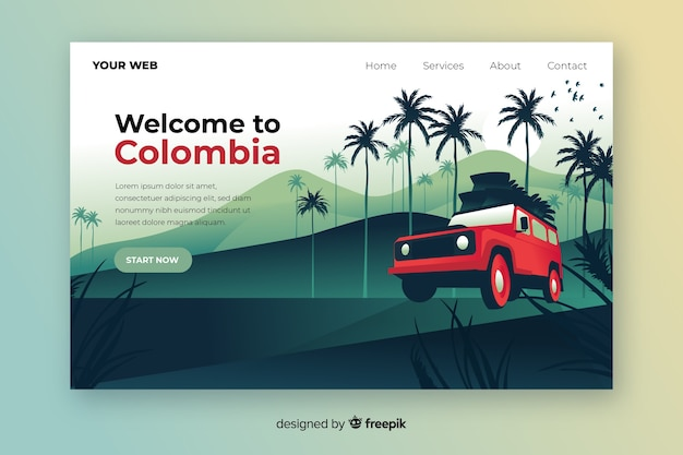 Welcome to colombia colorful landing page Free Vector