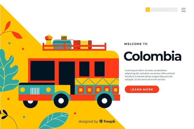 Welcome to colombia landing page template Free Vector