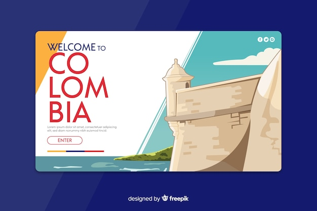 Welcome to colombia landing page Free Vector