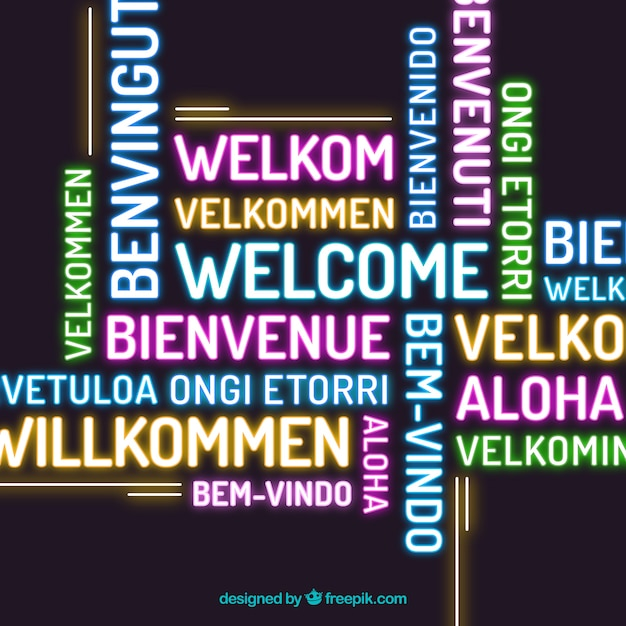 Welcome composition back ground in different languages neon style Free Vector