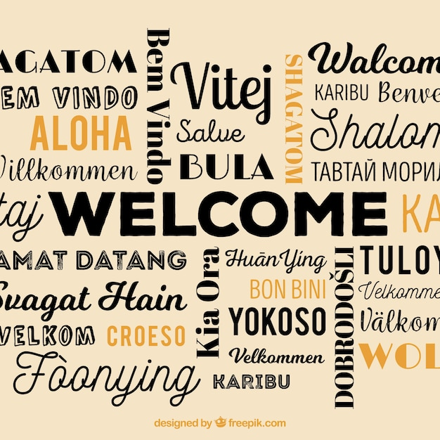 Welcome composition back ground in different languages Free Vector
