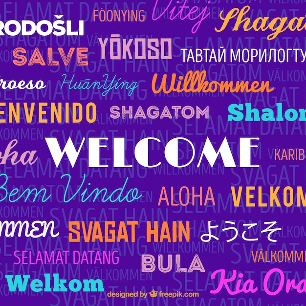 Welcome composition background in different languages with flat design Free Vector