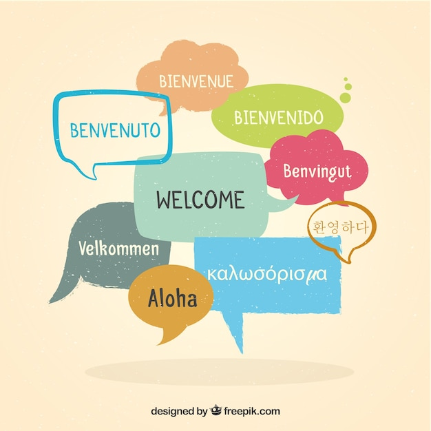 Welcome composition background in different languages Free Vector