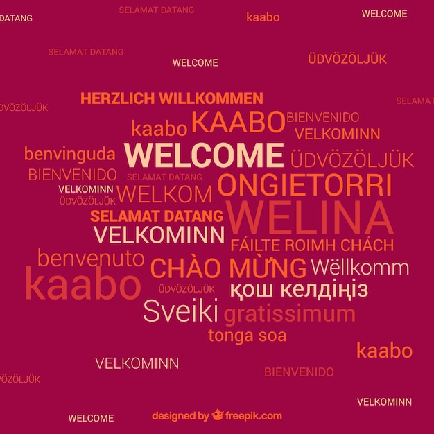 Welcome composition background in differente languages Free Vector