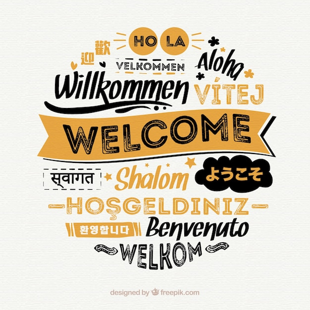 Welcome composition background with different languages Free Vector