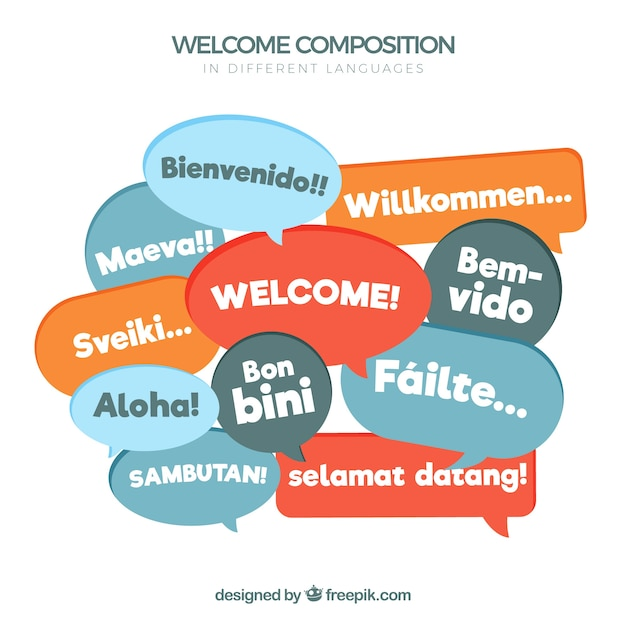 Welcome composition in different languages Free Vector