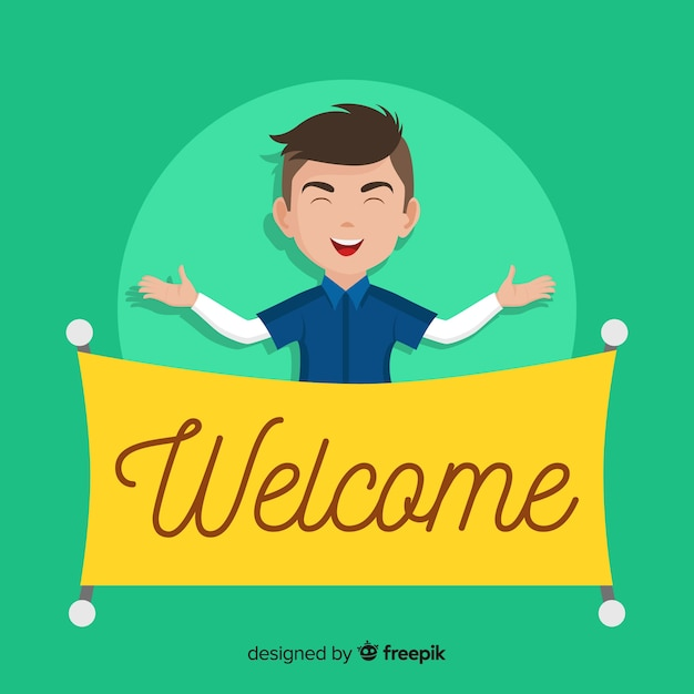 Welcome composition with flat character Free Vector
