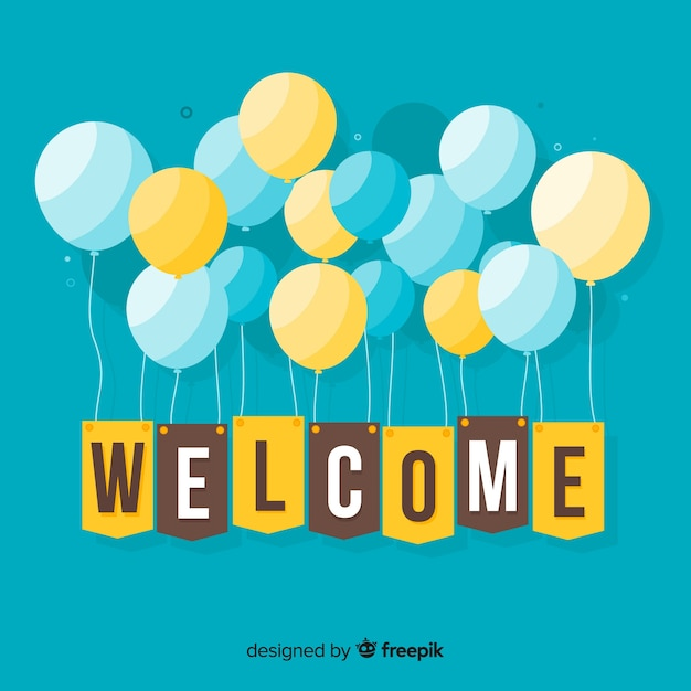 Welcome composition with flat design Free Vector