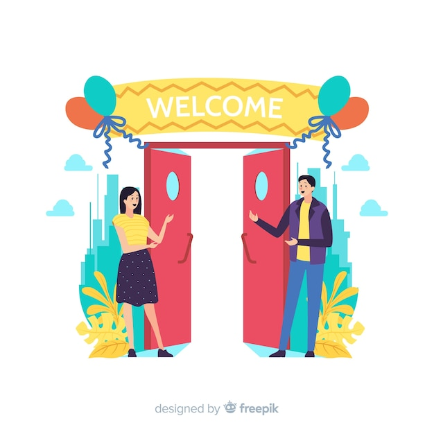 Welcome concept for landing page Free Vector